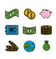 global coins and bills money with tools save vector image