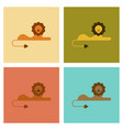 assembly flat icons nature cartoon lion vector image