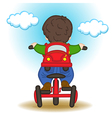 boy with backpack in form of car rides bicycle vector image