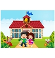 Cartoon little children leaving school vector image