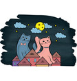 cats on the roof at night the moon and stars vector image