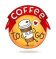 Cute cartoon coffee badge vector image