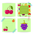 flat cute cherry blackberry fruits with vector image
