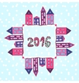 New year background 2016 lettering houses vector image