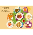 Thai and finnish cuisine dishes with dessert icon vector image