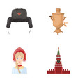 clothes woman kremlin building russia country vector image