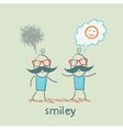 one thinks about smileys the other person sad vector image