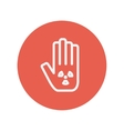 Hand and some object thin line icon vector image vector image