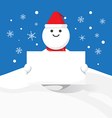 snowman hold blank label Christmas celebration vector image