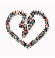 Group people form heart love vector image
