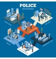 Police Department Isometric Concept vector image