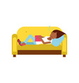 beautiful black girl sleeping on yellow sofa with vector image