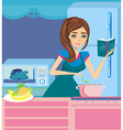 Beautiful lady cooking soup and serving chicken vector image