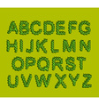 Leaves Font Green letters from the trees leaves vector image