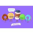 Set of breakfast characters cute cartoons vector image