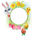 Easter round frame vector image vector image