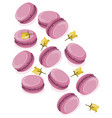 pink macarons dessert with berry flavour vector image