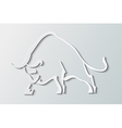 Silhouette wild bull on a gray background vector image vector image