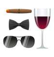dolce vita with cigar glass of wine bow tie and vector image