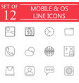 mobile and os line icon set symbols collection vector image