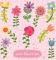 Original vintage hand drawn flowers set vector image