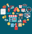 Stylish concept with icons of retail commerce and vector image