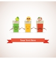 Tasty fresh squeezed hipster glasses of juices and vector image