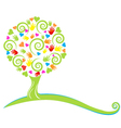 Tree hearts hands and swirly leaves logo vector image