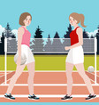 two woman play volley ball active sport vector image