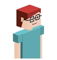 lego child half body with t-shirt and glasses vector image