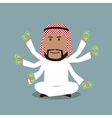 Arabian businessman with many hands vector image vector image