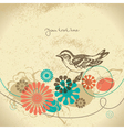 Abstract floral background with bird vector image vector image