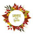 autumn leaves with rose hip vector image