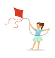 beautiful girl playing with kite kids outdoor vector image