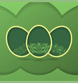 greeting card with green easter eggs vector image