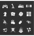 sixteen flat game icons vector image