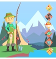 Fisherman And Thing Needed For Fishong Infographic vector image