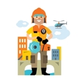 Emergency rescue service Flat style vector image
