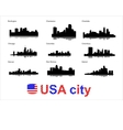 Detailed silhouettes of USA cities vector image