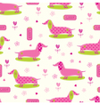 Seamless pattern with cute dog and floral elements vector image