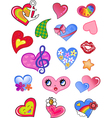a set of comic hearts vector image vector image
