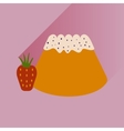 Flat with shadow Icon Bun strawberries on bright vector image