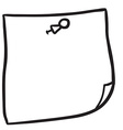 black and white freehand drawn note paper with pin vector image vector image
