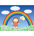 girl with balloons on a lawn vector image vector image