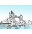 Hand Drawn sketch of Tower Bridge London UK vect vector image