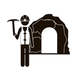 black silhouette miner with pickaxe vector image