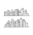 cartoon hand drawing city on white background vector image