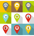 pin icons set flat style vector image