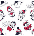 seamless pattern with funny baby penguins dressed vector image