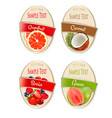 set of labels of berries and fruit guava vector image